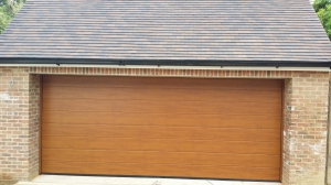 Sectional Garage Doors in Golden Oak Finish