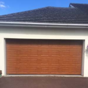 Sectional Garage Doors S-panelled Decograin in Golden Oak